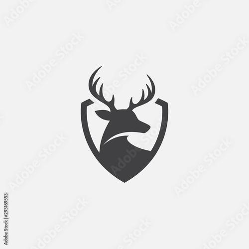 Wallpaper Mural Deer and shield logo design template