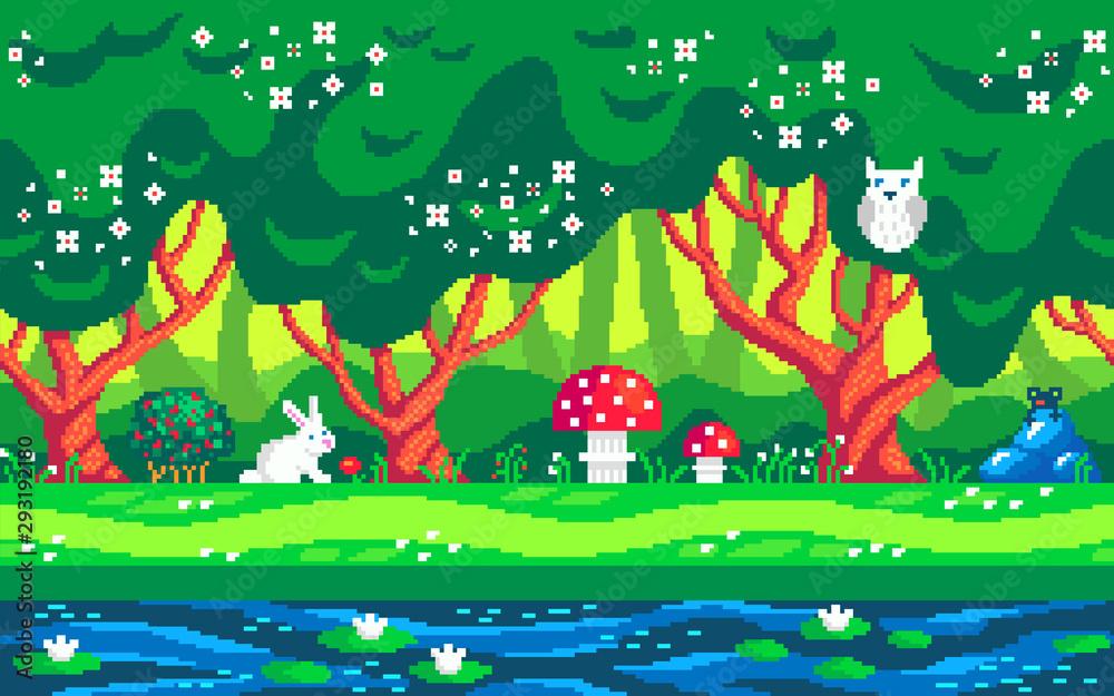Magiczny las pikseli sztuki bezszwowe tło. <span>plik: #293192180 | autor: PixelChoice</span>