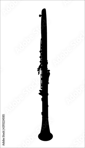 Canvas-taulu vector silhouette of a clarinet