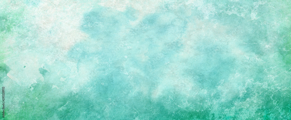 Blue green watercolor paint splash or blotch background with fringe bleed wash and bloom design, blobs of paint and old vintage watercolor paper texture grain