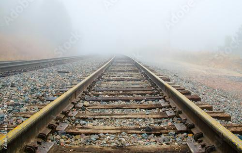 Canvas Print Railroad Tracks in the Fog