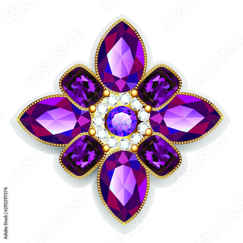 Leinwand Poster Illustration  brooch pendant with  and precious stones