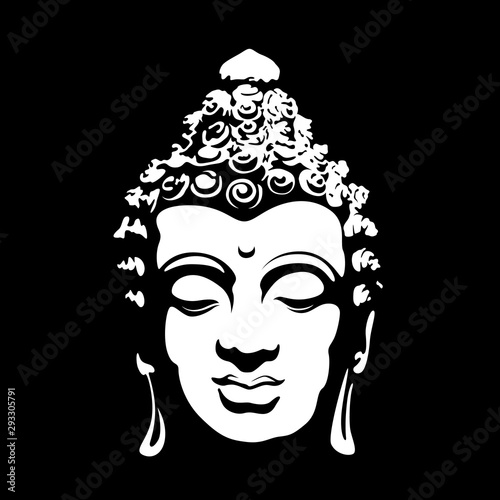 Leinwand Poster abstract art white head buddha sign on black background vector design