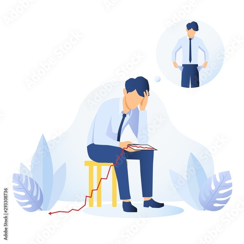 Canvas Print Businessman with empty pockets pulling them out to show he is skint then sitting down with a tablet with descending graph dropping to the floor, conceptual of a failure or money problem