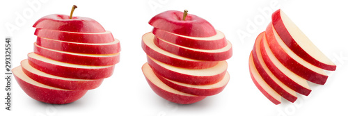 Fotografiet Red apple isolated. Sliced apple on white. With clipping path