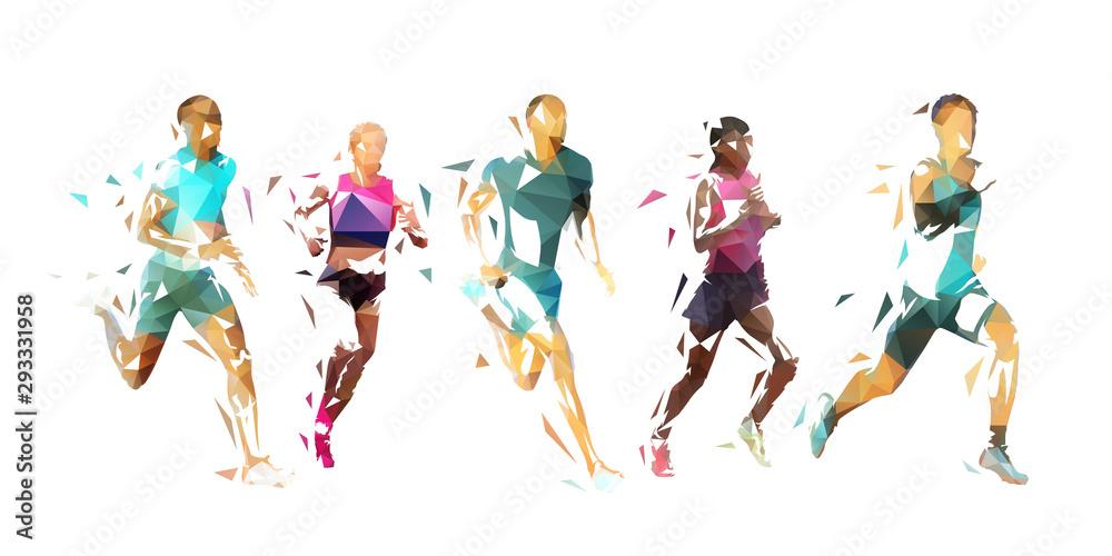 Uruchom, grupa uciekinierów, ilustracji wektorowych low poly. Geometryczni biegacze <span>plik: #293331958   autor: michalsanca</span>