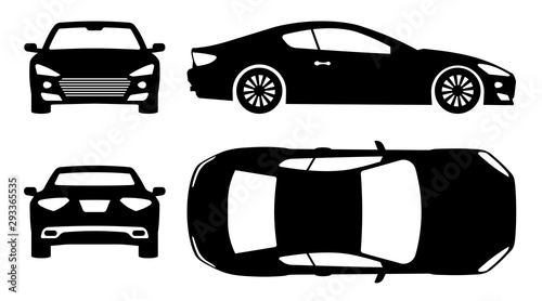 Sports car silhouette on white background. Vehicle icons set view from side, front, back, and top