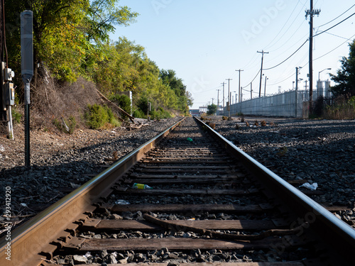 Canvas Print Freight train tracks along Delaware river front - Chester, PA / USA - December 2