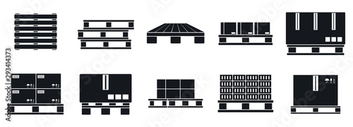 Canvas Print Pallet tray icons set