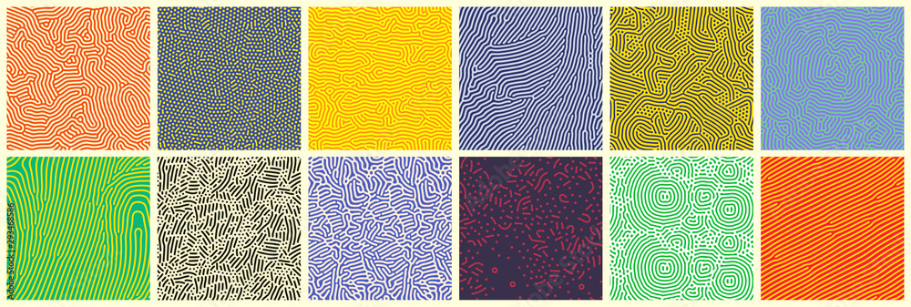 Seamless patterns, abstract organic lines color backgrounds set. Biological patterns with yellow, purple and blue memphis dots, irregular squiggle lines and abstract shape texture <span>plik: #293468586   autor: Ron Dale</span>