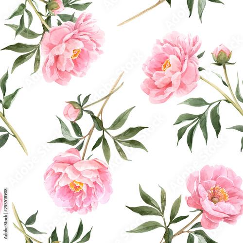 Stampa su Tela Watercolor peony seamless vector pattern