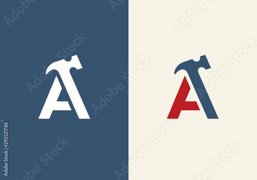 Canvas Print Initial letter A and hammer symbol, vector logo illustration design