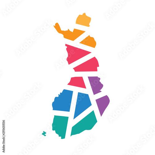 Photo colorful geometric Finland map- vector illustration