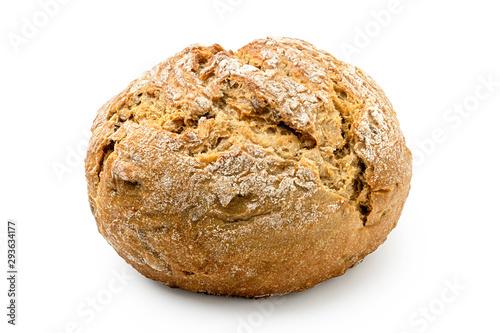 Round rustic whole wheat bread roll isolated on white. Tapéta, Fotótapéta