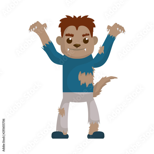 Canvas Print little boy with werewolf costume character