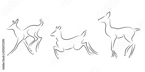 Canvas Print Standing black line deers on white background.