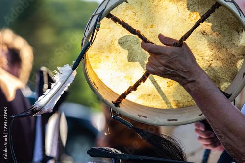 Fototapeta Sacred drums during spiritual singing