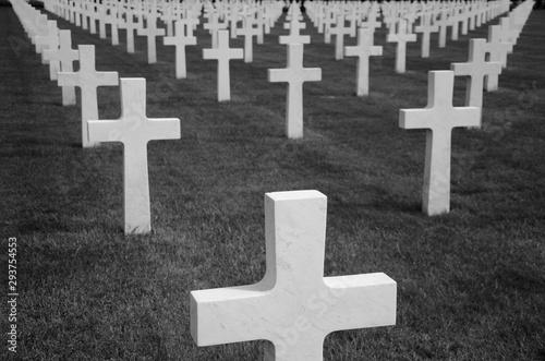 Fotografiet Un cimetière militaire avec des croix blanches