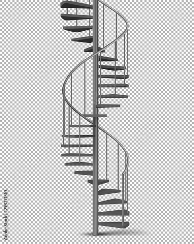 Leinwand Poster Metal spiral, helical staircase on pillar with tube railings and wooden stairs 3d realistic vector illustration isolated on transparent background