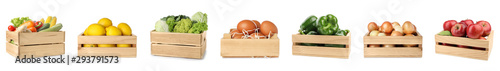 Set of wooden crates with fruits, vegetables and eggs on white background