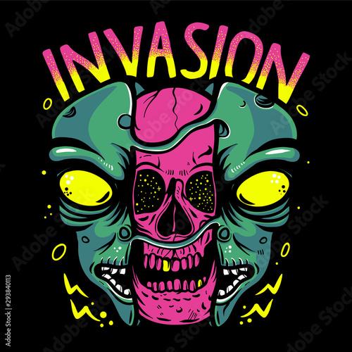 Fotografia Skull inside alien head vector illustration
