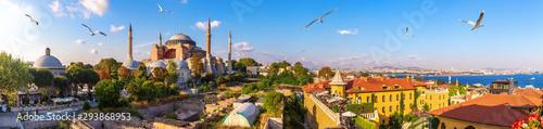 Photo Hagia Sofia, old Turkish Hammam and the Bosphorus, beautiful Istanbul panorama