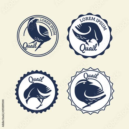 Set of Quail sign for label and mascot logo Fototapeta