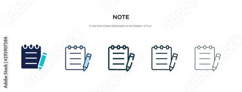 Fotografia note icon in different style vector illustration