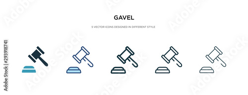 Canvas-taulu gavel icon in different style vector illustration