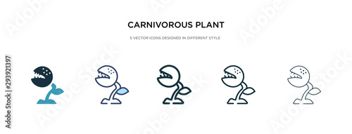 Stampa su Tela carnivorous plant icon in different style vector illustration