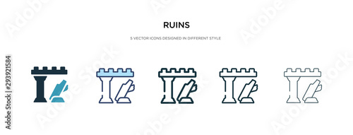 Stampa su Tela ruins icon in different style vector illustration