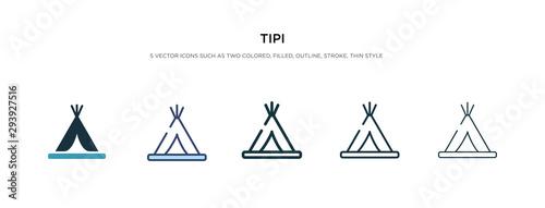 Fotografia tipi icon in different style vector illustration