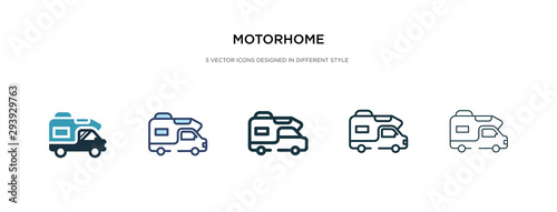 Fotografering motorhome icon in different style vector illustration