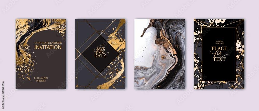 Obraz Modern card design. Hand drawn splatters. Marble texture. Gold, white, black colors brochure, flyer, invitation template. Business identity style. Geometric shape. Vector. fototapeta, plakat