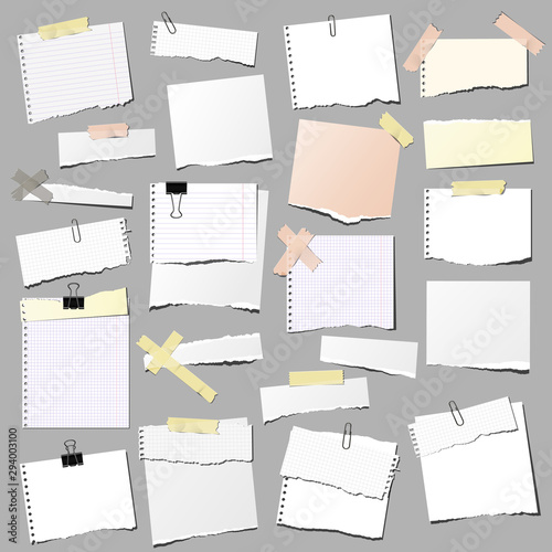 Fotografia set of note papers, isolated