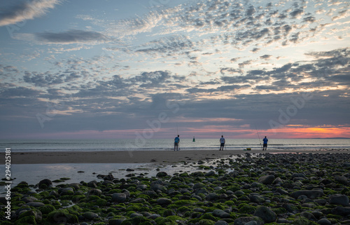 Canvas Print Colourful Sunset Sky over Scenic Beach in Wales, UK