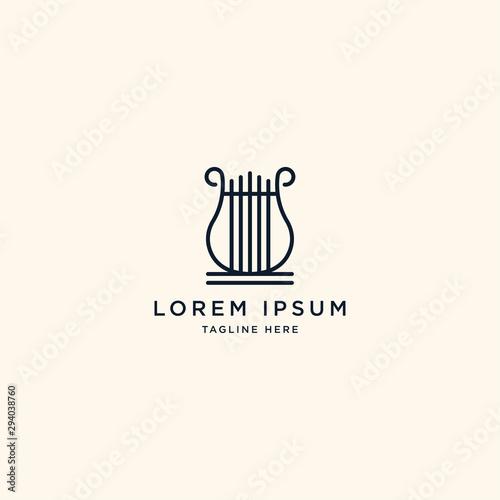 Valokuvatapetti Harp Logo Icon Design Template Vector Illustration
