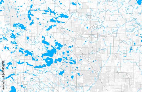 Fototapeta Rich detailed vector map of Pontiac, Michigan, USA
