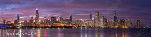 Fototapeta premium Chicago panoramę budynków w centrum miasta