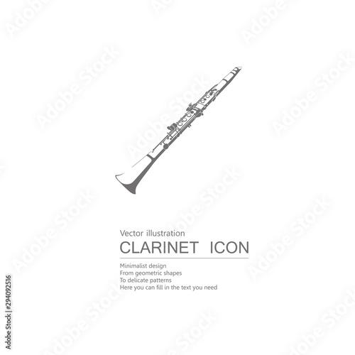 Carta da parati Vector drawn clarinet. Isolated on white background.