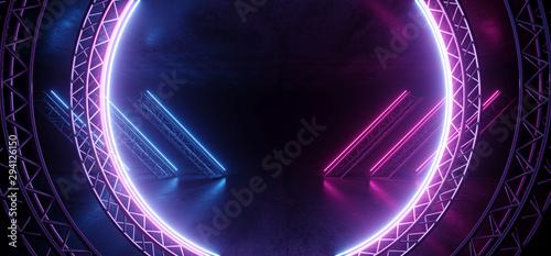 Fotografia Circle Construction Gate Sci Fi Futuristic Neon Glowing Purple Blue Laser Lines