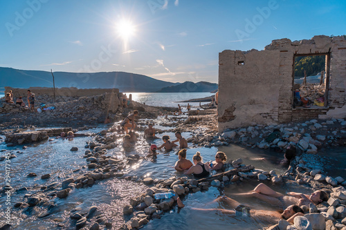 Canvas Print Marsh of Yesa, Aragon / Spain »; September 29, 2019: Roman perma that appears wh
