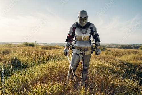 Fotografie, Obraz Knight in armor and helmet holds sword