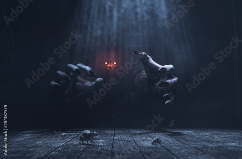 Fényképezés The dwelling,The place has it own devil,Monster in haunted house,3d illustration