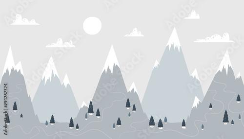 Plakat Górski krajobraz w modnym skandynawskim stylu