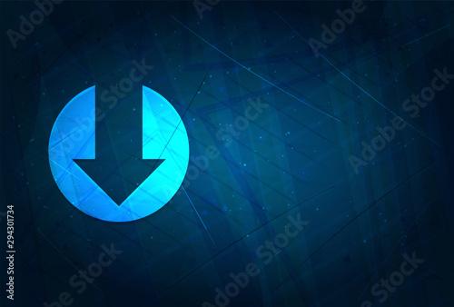 Down arrow icon futuristic digital abstract blue background Fototapeta