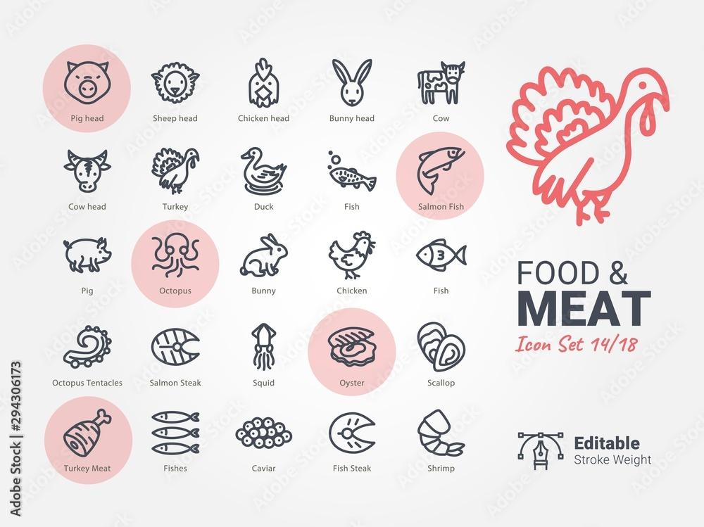 Food & Meat vector icon collection <span>plik: #294306173   autor: BomSymbols.</span>