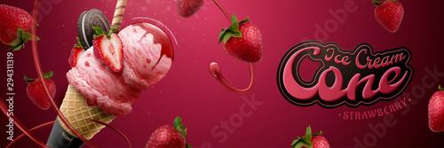Canvas-taulu Tasty strawberry ice cream cone ads