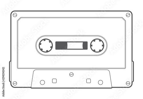 Obraz na plátně Vector line old compact audio cassettes