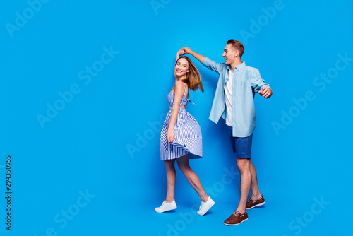 Obraz na płótnie Full length body size view of her she his he two nice attractive charming lovely